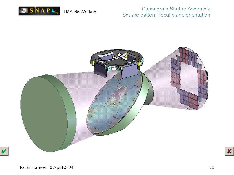 TMA-65 Workup Robin Lafever 30 April 200420 Cassegrain Shutter Assembly 'Square pattern' focal plane orientation