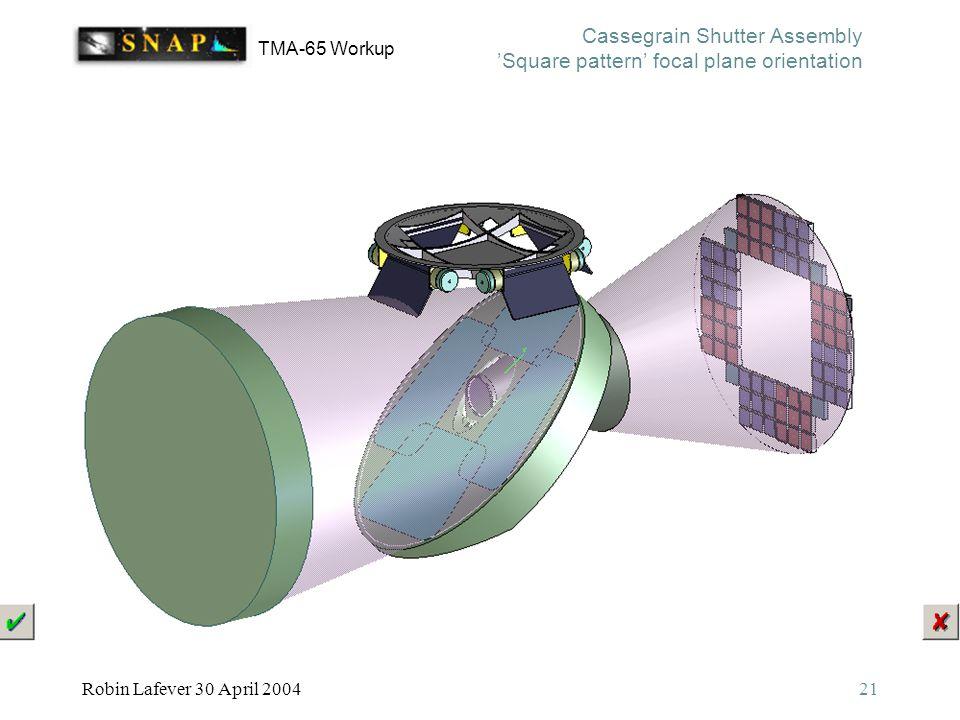 TMA-65 Workup Robin Lafever 30 April 200421 Cassegrain Shutter Assembly 'Square pattern' focal plane orientation
