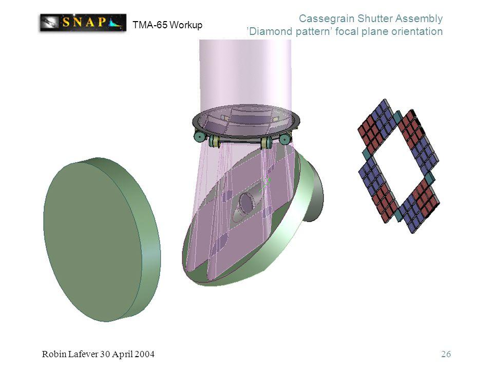 TMA-65 Workup Robin Lafever 30 April 200426 Cassegrain Shutter Assembly 'Diamond pattern' focal plane orientation