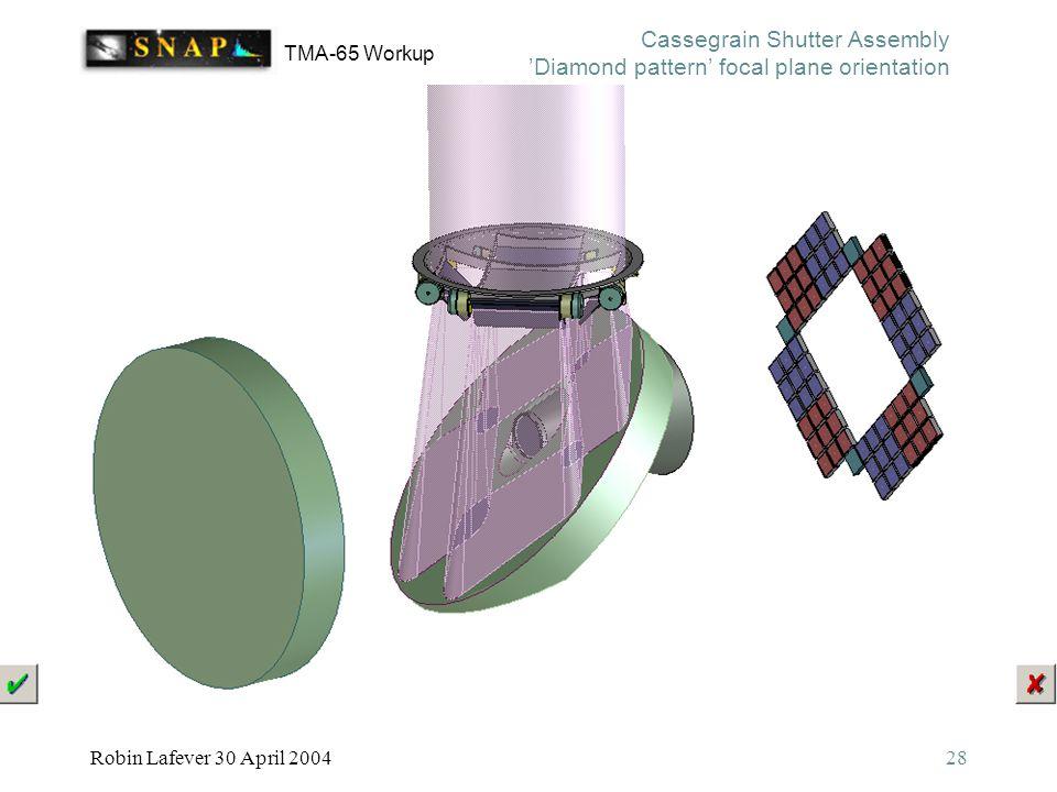 TMA-65 Workup Robin Lafever 30 April 200428 Cassegrain Shutter Assembly 'Diamond pattern' focal plane orientation