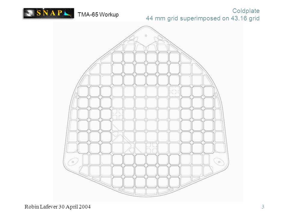 TMA-65 Workup Robin Lafever 30 April 20043 Coldplate 44 mm grid superimposed on 43.16 grid