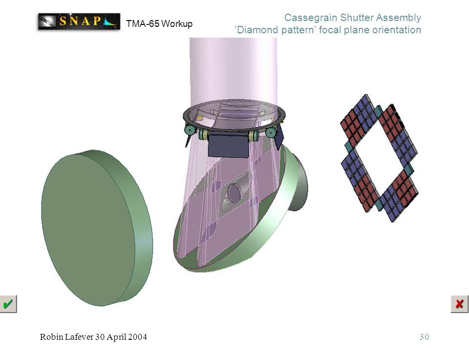 TMA-65 Workup Robin Lafever 30 April 200430 Cassegrain Shutter Assembly 'Diamond pattern' focal plane orientation