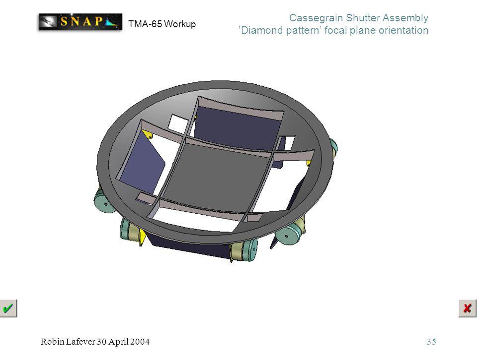 TMA-65 Workup Robin Lafever 30 April 200435 Cassegrain Shutter Assembly 'Diamond pattern' focal plane orientation