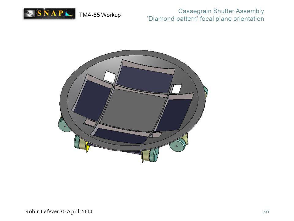 TMA-65 Workup Robin Lafever 30 April 200436 Cassegrain Shutter Assembly 'Diamond pattern' focal plane orientation