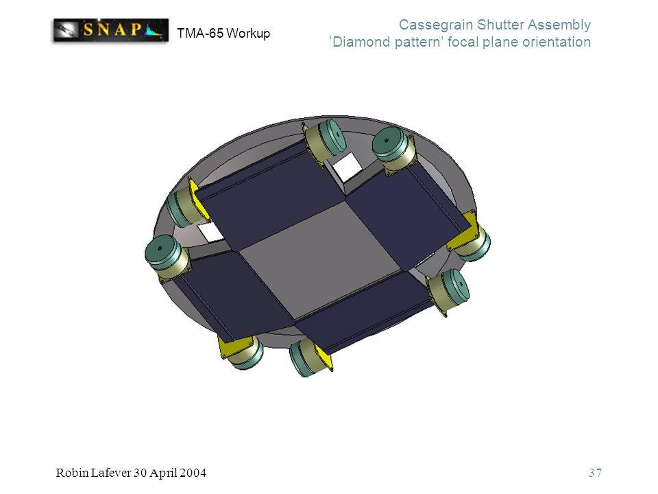 TMA-65 Workup Robin Lafever 30 April 200437 Cassegrain Shutter Assembly 'Diamond pattern' focal plane orientation