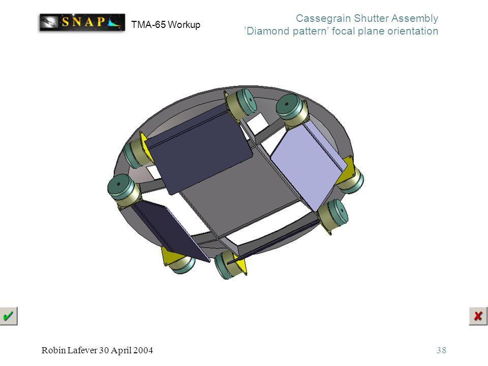 TMA-65 Workup Robin Lafever 30 April 200438 Cassegrain Shutter Assembly 'Diamond pattern' focal plane orientation