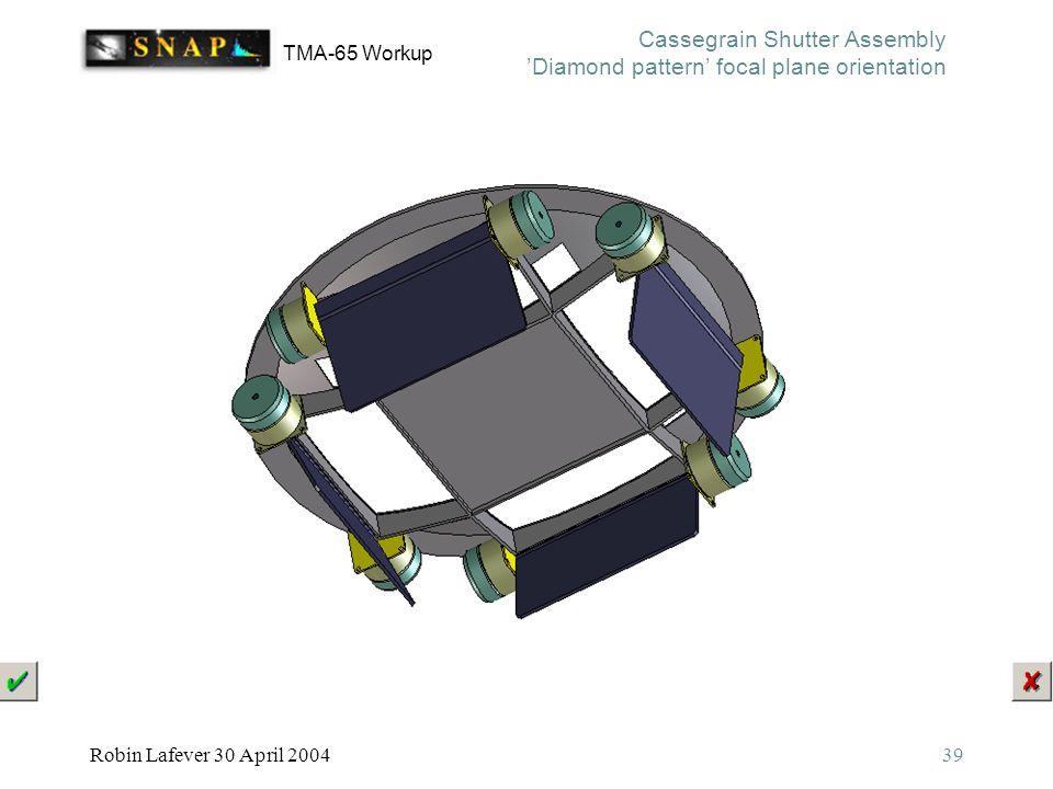 TMA-65 Workup Robin Lafever 30 April 200439 Cassegrain Shutter Assembly 'Diamond pattern' focal plane orientation