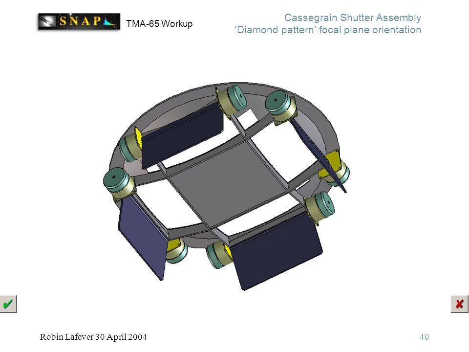 TMA-65 Workup Robin Lafever 30 April 200440 Cassegrain Shutter Assembly 'Diamond pattern' focal plane orientation