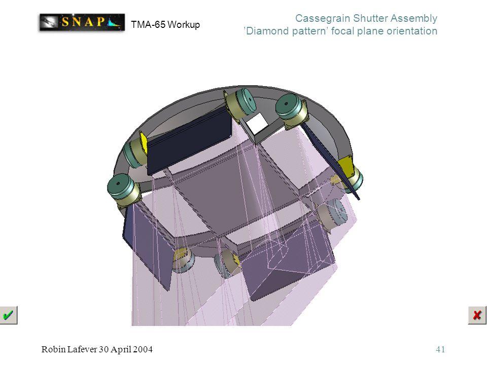 TMA-65 Workup Robin Lafever 30 April 200441 Cassegrain Shutter Assembly 'Diamond pattern' focal plane orientation