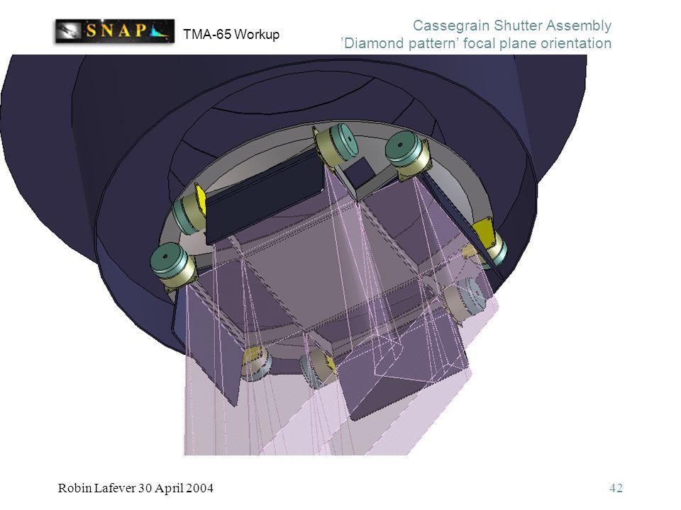 TMA-65 Workup Robin Lafever 30 April 200442 Cassegrain Shutter Assembly 'Diamond pattern' focal plane orientation