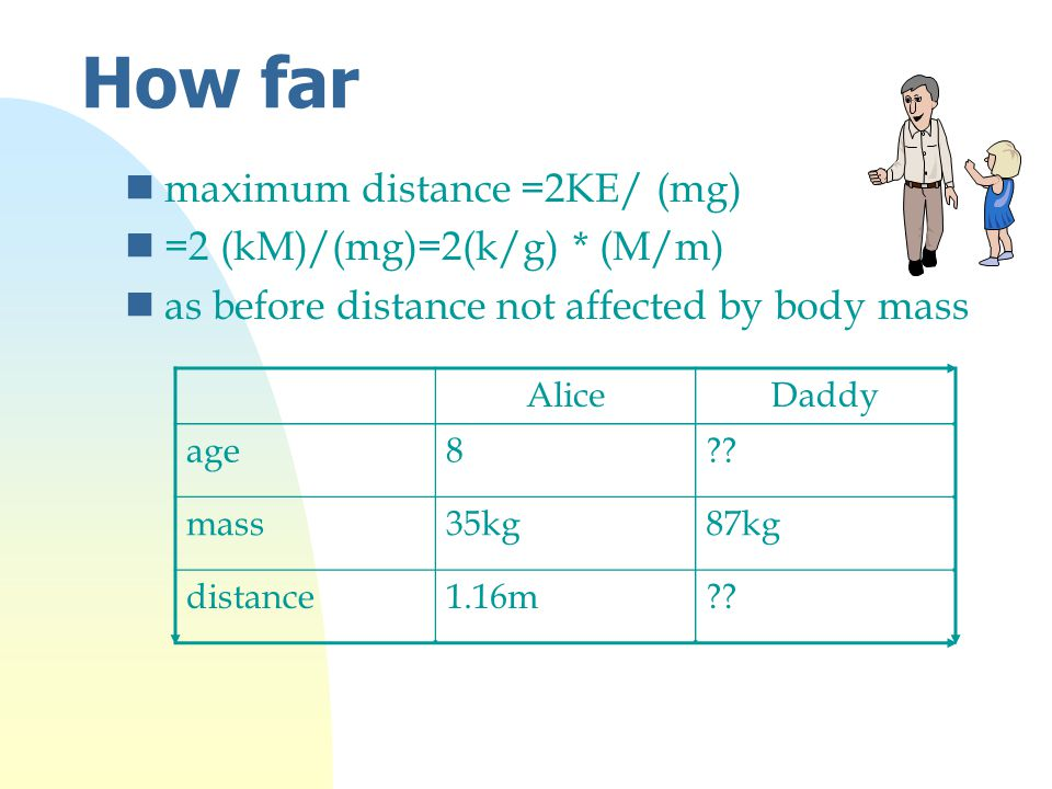 How far nmaximum distance =2KE/ (mg) n=2 (kM)/(mg)=2(k/g) * (M/m) nas before distance not affected by body mass AliceDaddy age8?.