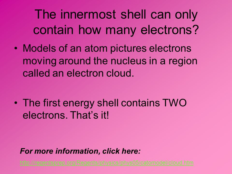 The innermost shell can only contain how many electrons.