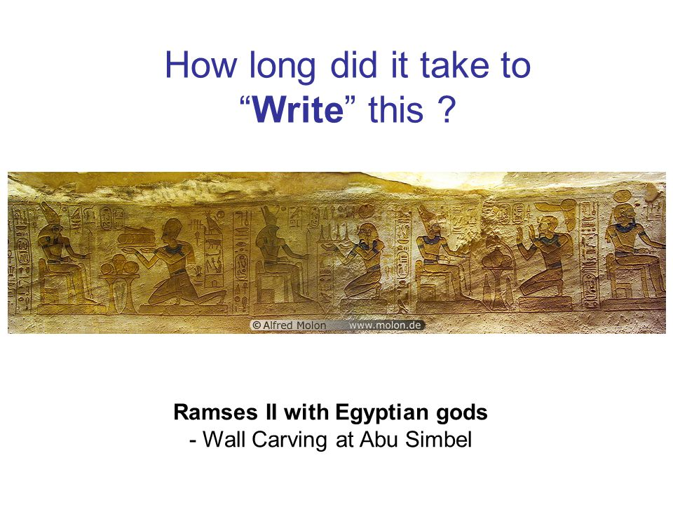 How long did it take to Write this Ramses II with Egyptian gods - Wall Carving at Abu Simbel