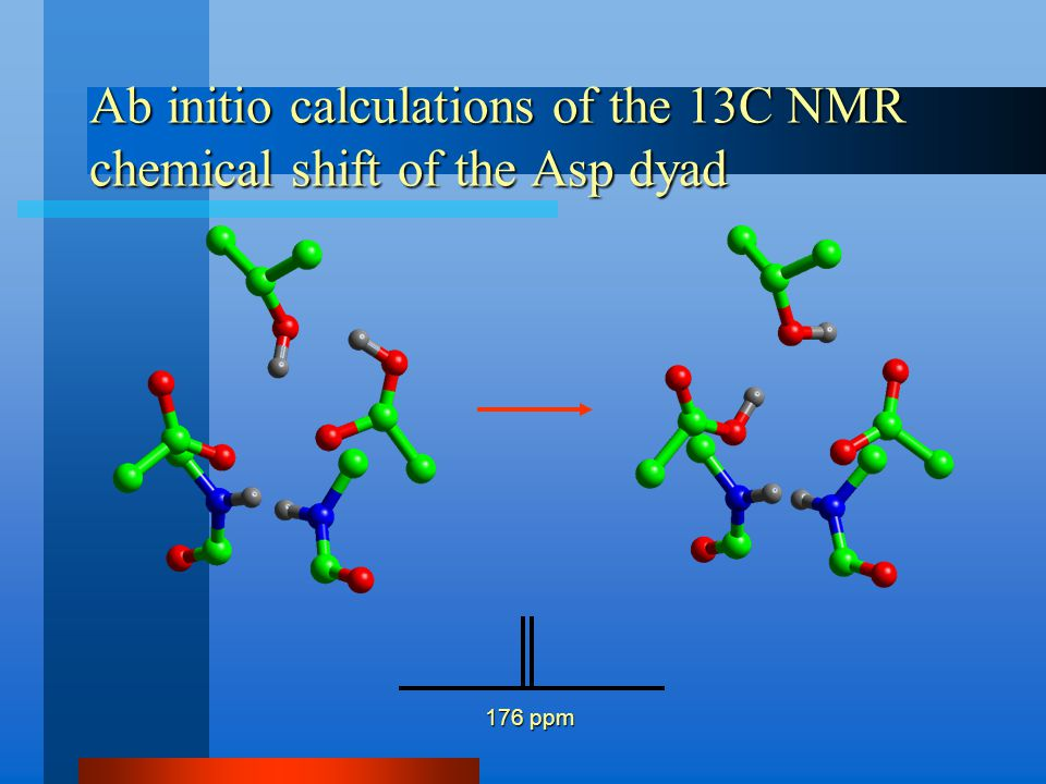 Ab initio calculations of the 13C NMR chemical shift of the Asp dyad 176 ppm