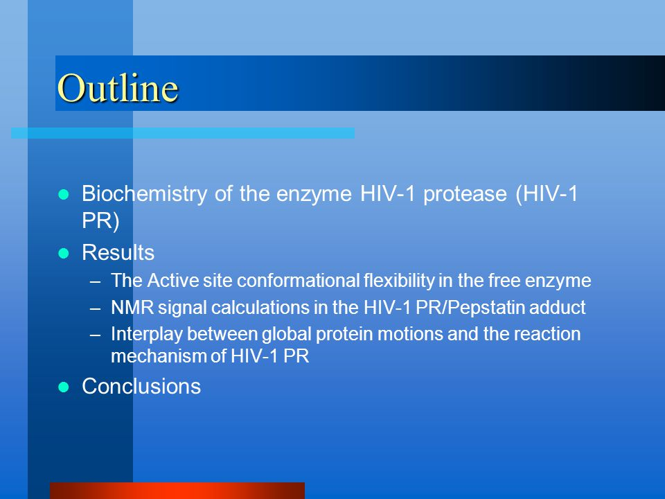 Outline Biochemistry of the enzyme HIV-1 protease (HIV-1 PR) Results –The Active site conformational flexibility in the free enzyme –NMR signal calculations in the HIV-1 PR/Pepstatin adduct –Interplay between global protein motions and the reaction mechanism of HIV-1 PR Conclusions