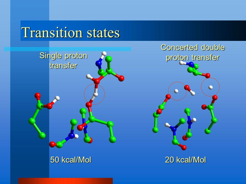 Transition states 50 kcal/Mol Single proton transfer 20 kcal/Mol Concerted double proton transfer