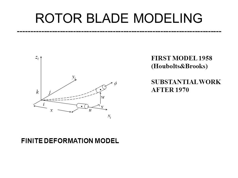 ROTOR BLADE MODELING ----------------------------------------------------------------------------- FIRST MODEL 1958 (Houbolts&Brooks) SUBSTANTIAL WORK