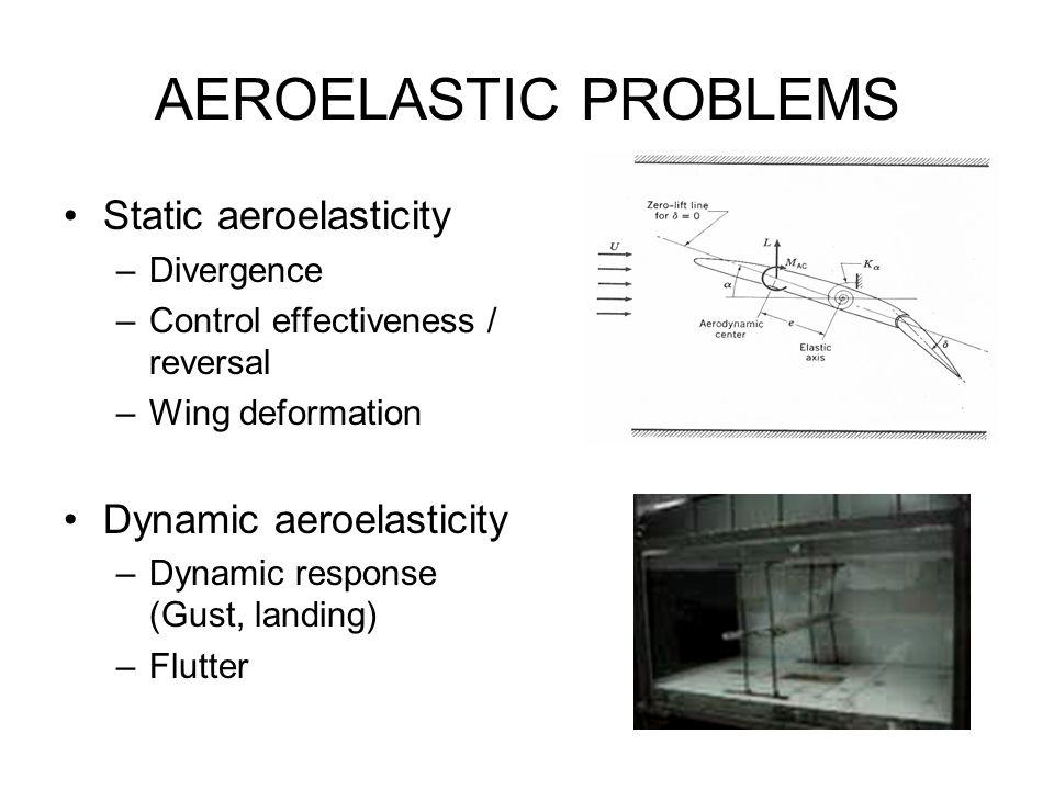 AEROELASTIC PROBLEMS Static aeroelasticity –Divergence –Control effectiveness / reversal –Wing deformation Dynamic aeroelasticity –Dynamic response (G