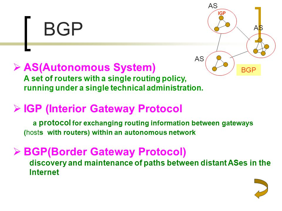 BGP  AS(Autonomous System) A set of routers with a single routing policy, running under a single technical administration.