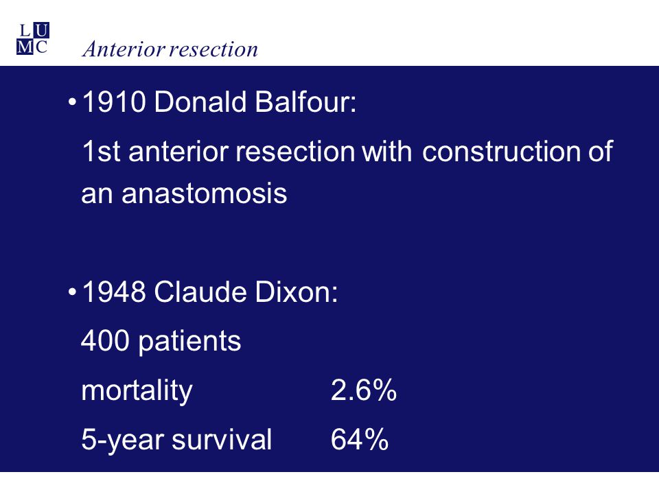Anterior resection 1910 Donald Balfour: 1st anterior resection with construction of an anastomosis 1948 Claude Dixon: 400 patients mortality 2.6% 5-ye