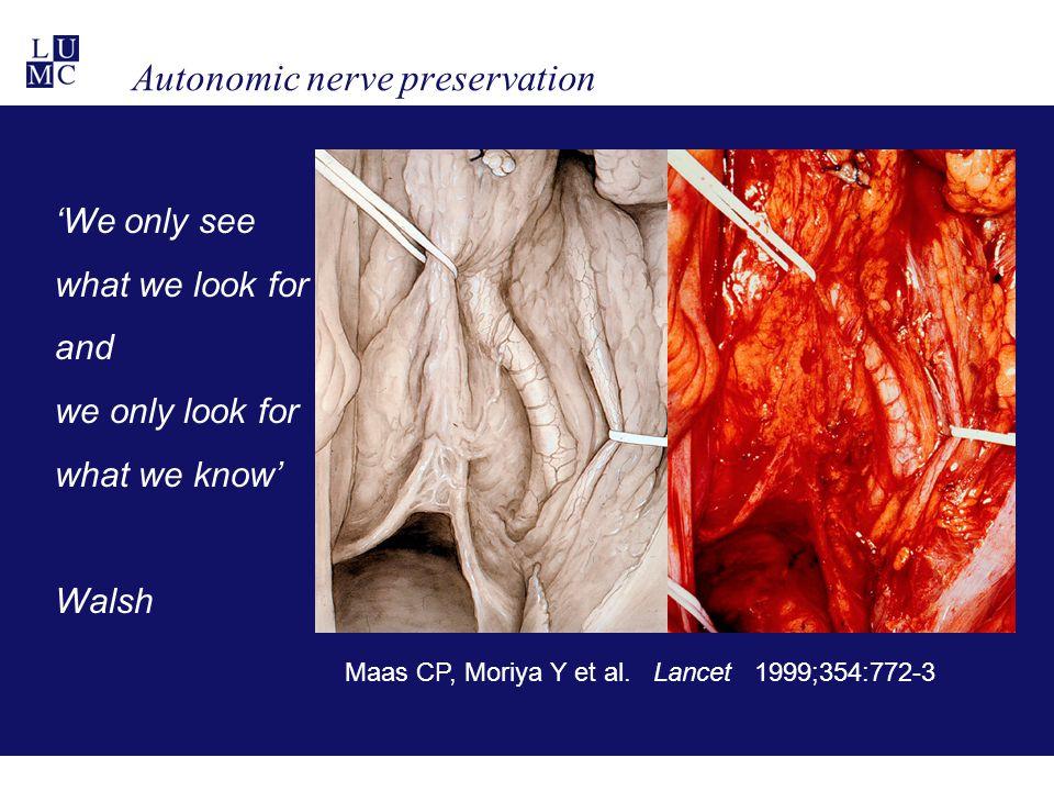 Maas CP, Moriya Y et al. Lancet 1999;354:772-3 'We only see what we look for and we only look for what we know' Walsh Autonomic nerve preservation