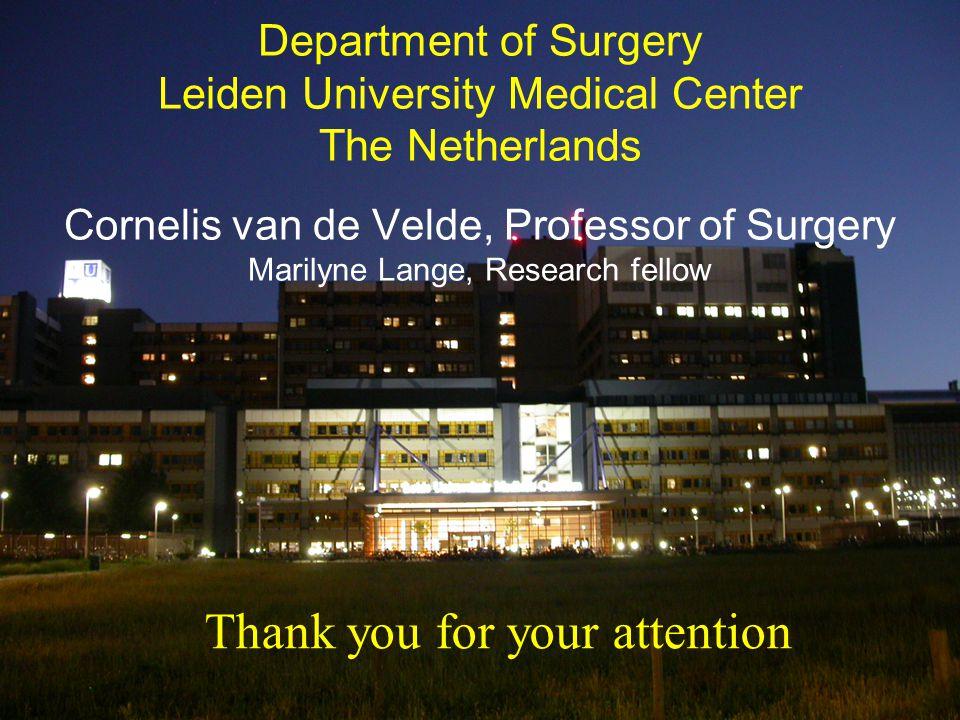 Cornelis van de Velde, Professor of Surgery Marilyne Lange, Research fellow Thank you for your attention Department of Surgery Leiden University Medic