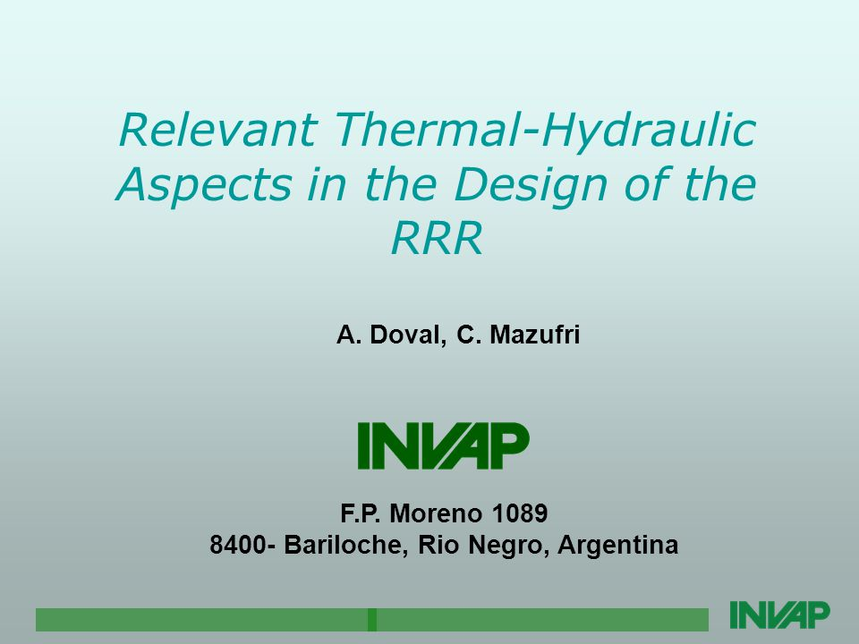 Relevant Thermal-Hydraulic Aspects in the Design of the RRR A.