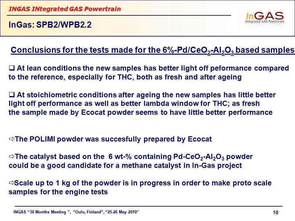 "INGAS ""30 Months Meeting "", ""Oulu, Finland"", ""25-26 May 2010"" INGAS INtegrated GAS Powertrain 10 InGas: SPB2/WPB2.2 Conclusions for the tests made for"