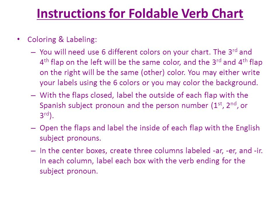 Instructions for Foldable Verb Chart Coloring & Labeling: – You will need use 6 different colors on your chart.