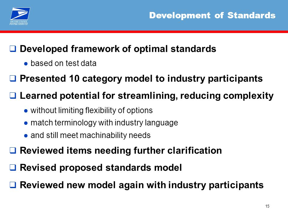 15  Developed framework of optimal standards ●based on test data  Presented 10 category model to industry participants  Learned potential for strea