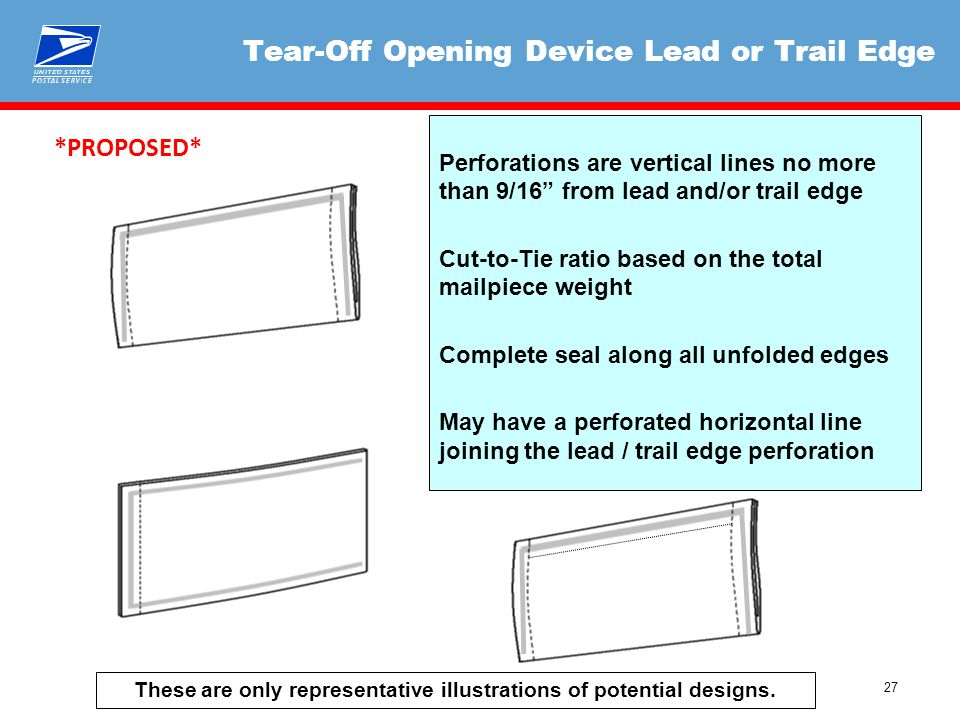"27 Tear-Off Opening Device Lead or Trail Edge Perforations are vertical lines no more than 9/16"" from lead and/or trail edge Cut-to-Tie ratio based on"