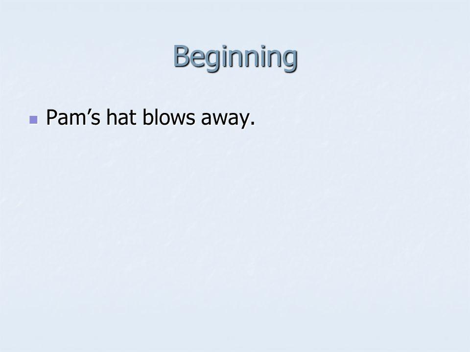 Beginning Pam's hat blows away. Pam's hat blows away.