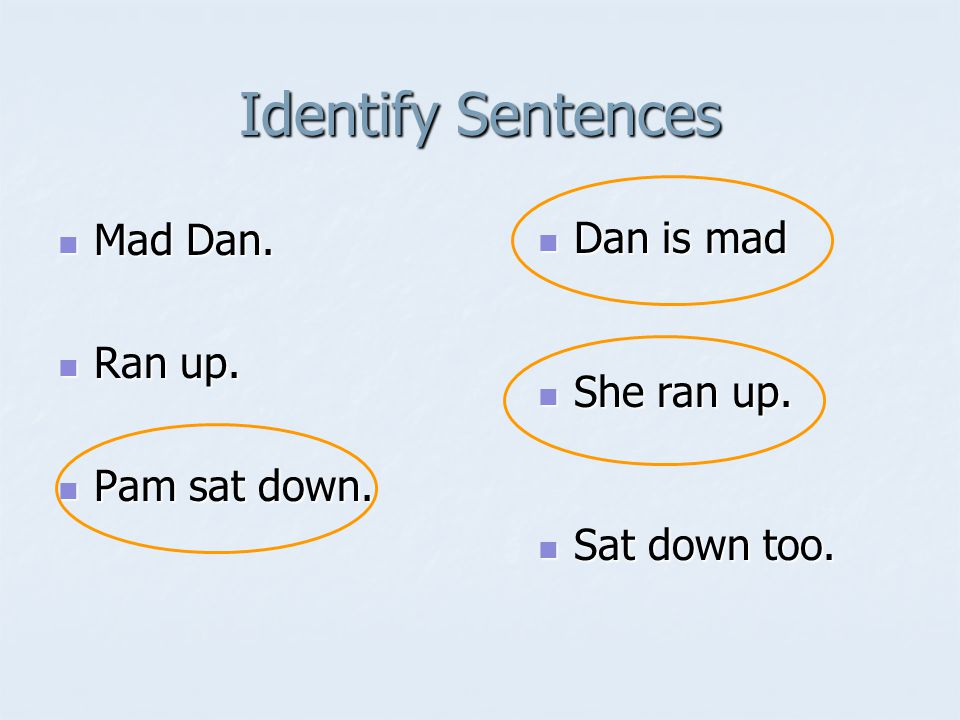 Identify Sentences Mad Dan. Mad Dan. Ran up. Ran up.