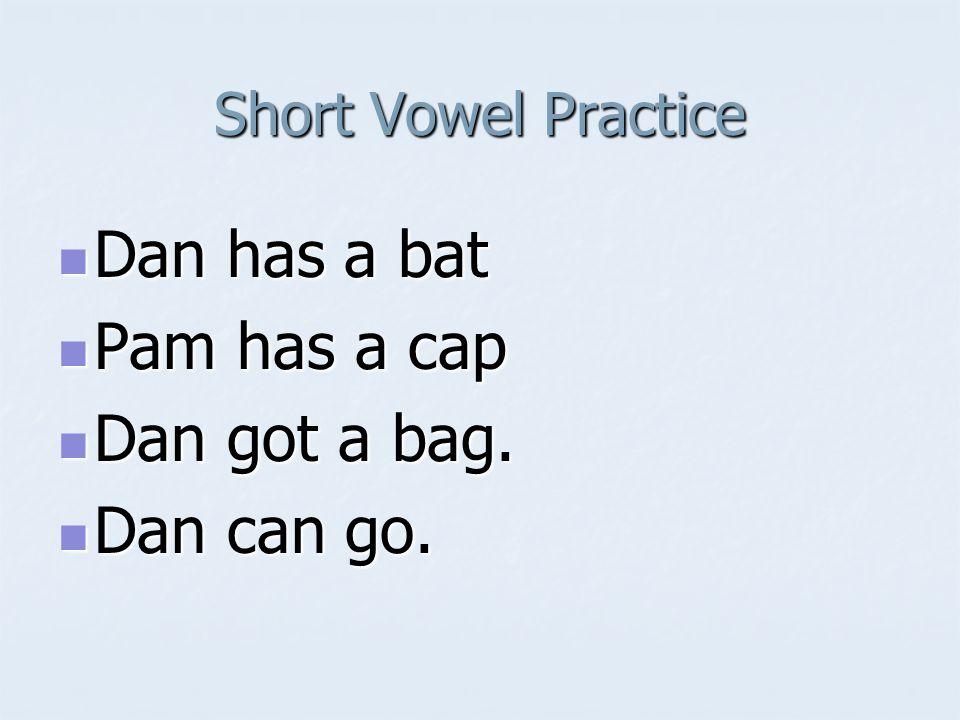 Short Vowel Practice Dan has a bat Dan has a bat Pam has a cap Pam has a cap Dan got a bag. Dan got a bag. Dan can go. Dan can go.