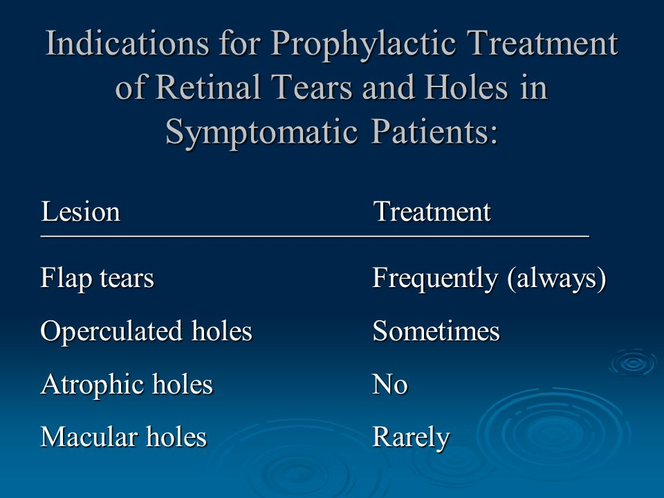 Indications for Prophylactic Treatment of Retinal Tears and Holes in Symptomatic Patients: Flap tears Frequently (always) Operculated holes Sometimes Atrophic holes No Macular holes Rarely Lesion Treatment _____________________________________
