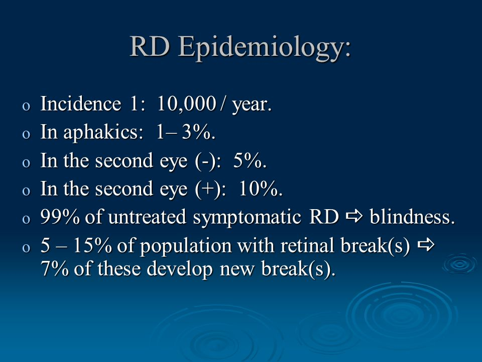 RD Epidemiology: o Incidence 1: 10,000 / year. o In aphakics: 1– 3%.