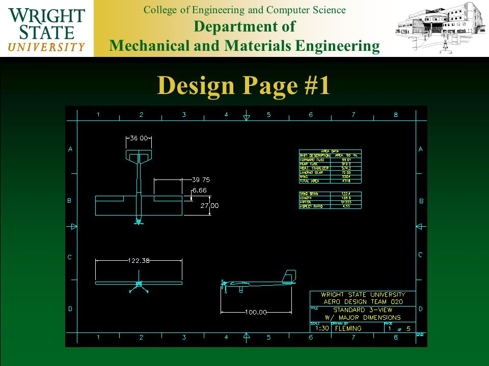 College of Engineering and Computer Science Department of Mechanical and Materials Engineering Design Page #1