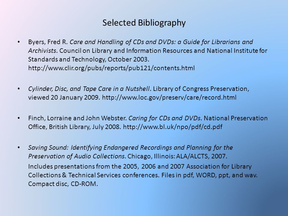 Selected Bibliography Byers, Fred R.