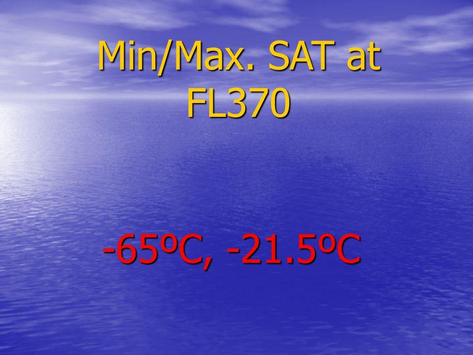 Min/Max. SAT at FL370 -65ºC, -21.5ºC