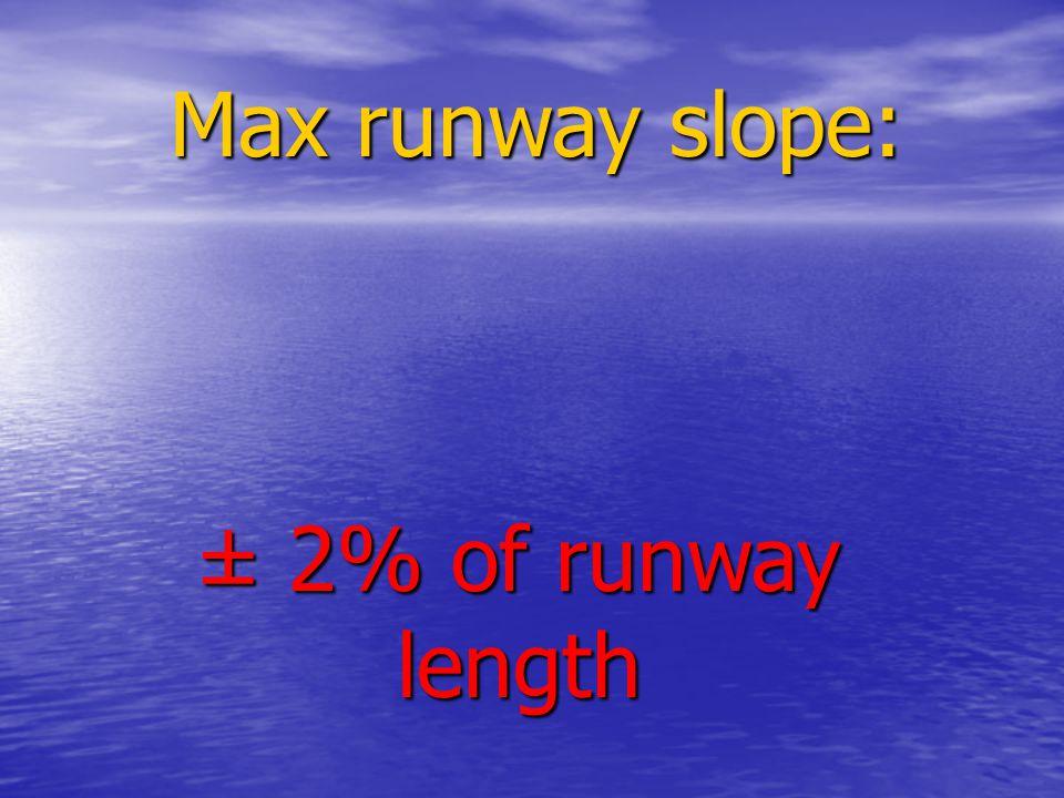 Max runway slope: ± 2% of runway length