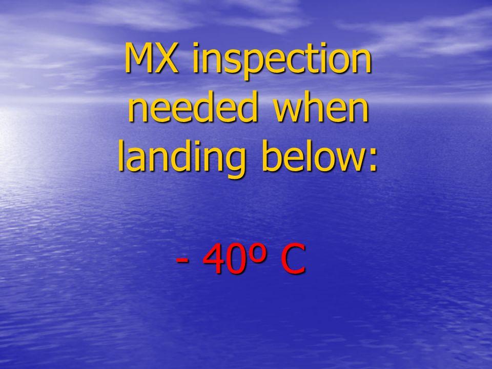 MX inspection needed when landing below: - 40º C