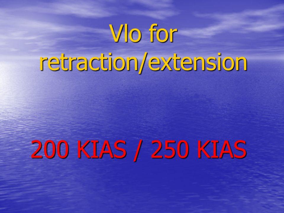 Vlo for retraction/extension 200 KIAS / 250 KIAS