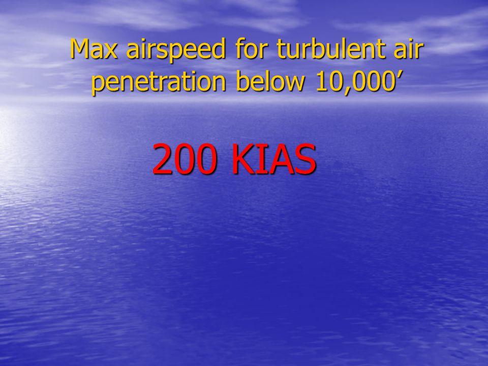 Max airspeed for turbulent air penetration below 10,000' 200 KIAS
