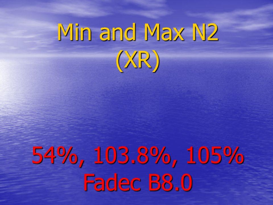 Min and Max N2 (XR) 54%, 103.8%, 105% Fadec B8.0