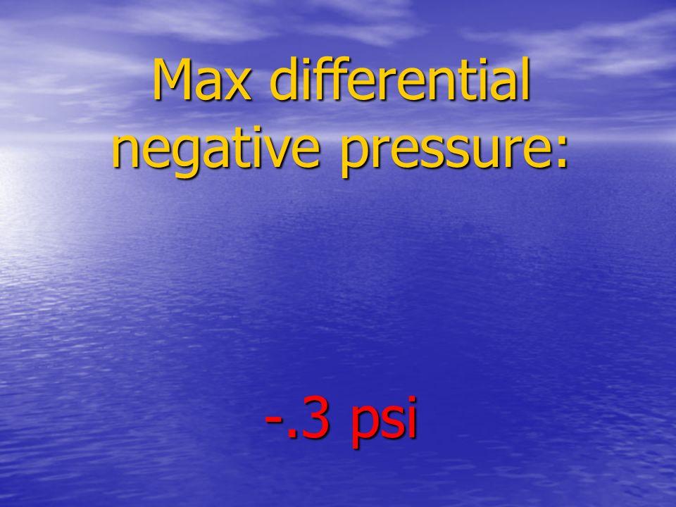 Max differential negative pressure: -.3 psi