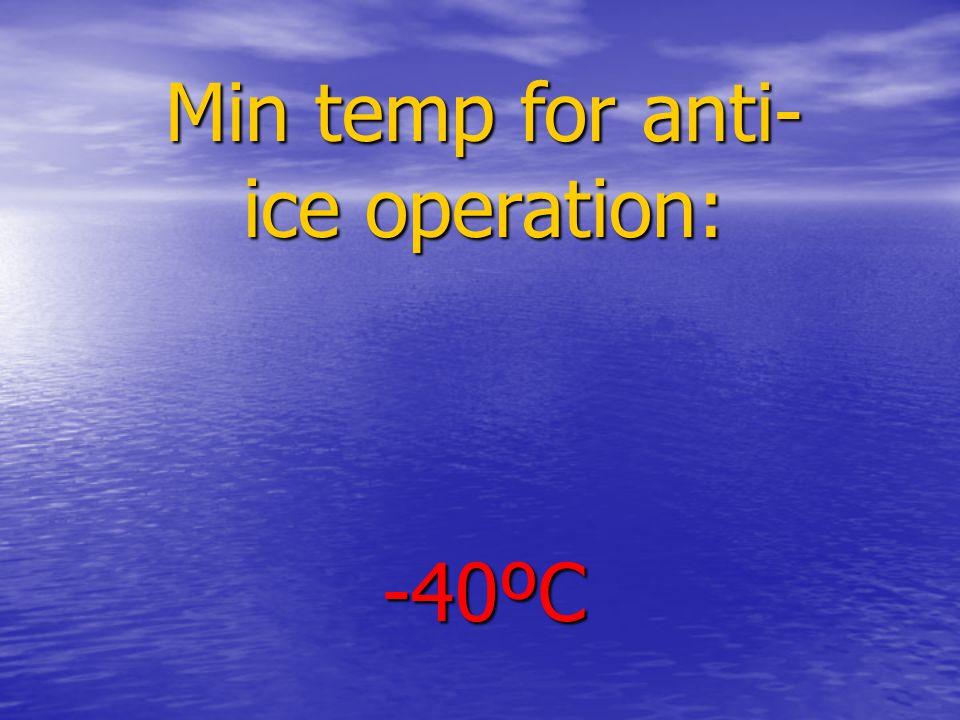 Min temp for anti- ice operation: -40ºC