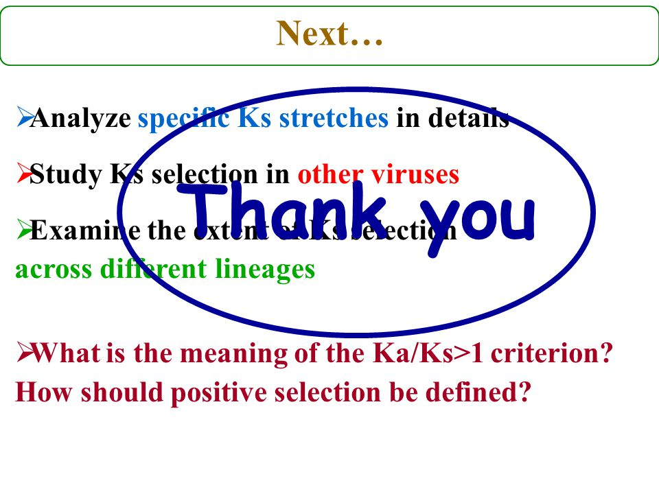 Next…  Analyze specific Ks stretches in details  Study Ks selection in other viruses  Examine the extent of Ks selection across different lineages  What is the meaning of the Ka/Ks>1 criterion.