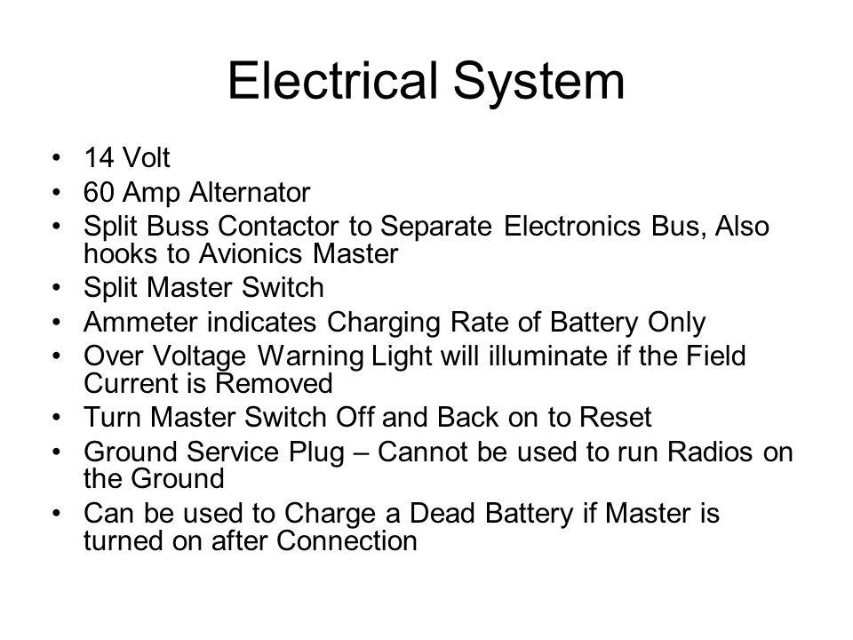 Electrical System 14 Volt 60 Amp Alternator Split Buss Contactor to Separate Electronics Bus, Also hooks to Avionics Master Split Master Switch Ammete