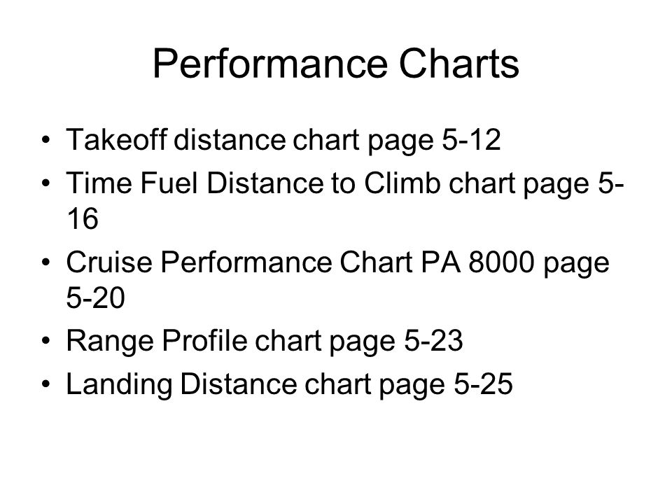 Performance Charts Takeoff distance chart page 5-12 Time Fuel Distance to Climb chart page 5- 16 Cruise Performance Chart PA 8000 page 5-20 Range Prof