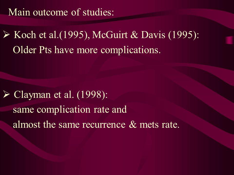 Main outcome of studies:  Koch et al.(1995), McGuirt & Davis (1995): Older Pts have more complications.